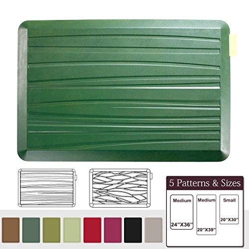 NUVA Anti Fatigue Standing Floor Mat 30 x 20 in, 100% PU Comfort Ergonomic Material Unlike PVC leather mats! 4 Non-slip PU Elastomer Strips on Bottom, 5 Safety Test by SGS (Grass Green, Beach Pattern)