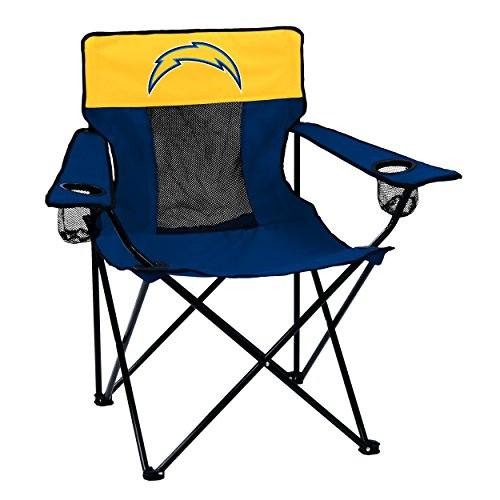 Logo Brands NFL LA Chargers Folding Elite Chair with Mesh Back and Carry Bag ,  Navy,  One Size from Logo Brands