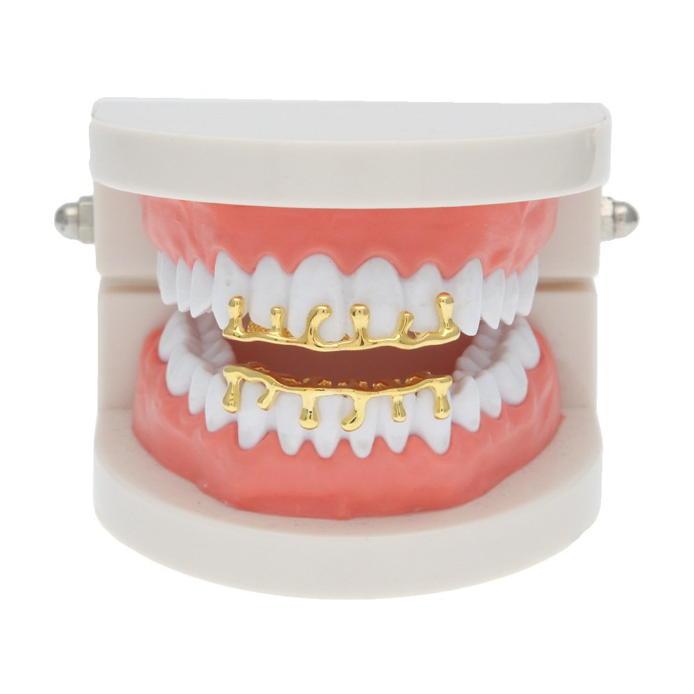 HongBoom New Hip Hop Bling Bling Lava Teeth Fangs Grillz Caps Top & Bottom Gold Plated Dental Grill Set