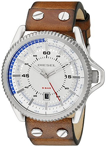 Diesel-Mens-DZ1715-Rollcage-Stainless-Steel-Brown-Leather-Watch