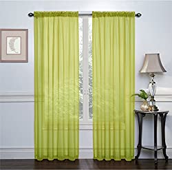 GoodGram 2 Pack: Ultra Luxurious High Thread Rod Pocket Sheer Voile Window Curtains Assorted Colors