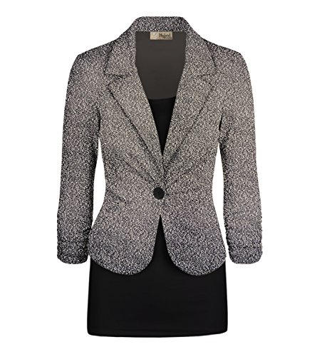 Women's Casual Work Office Blazer Jacket JK1131 8294 Taupe/Mult Large