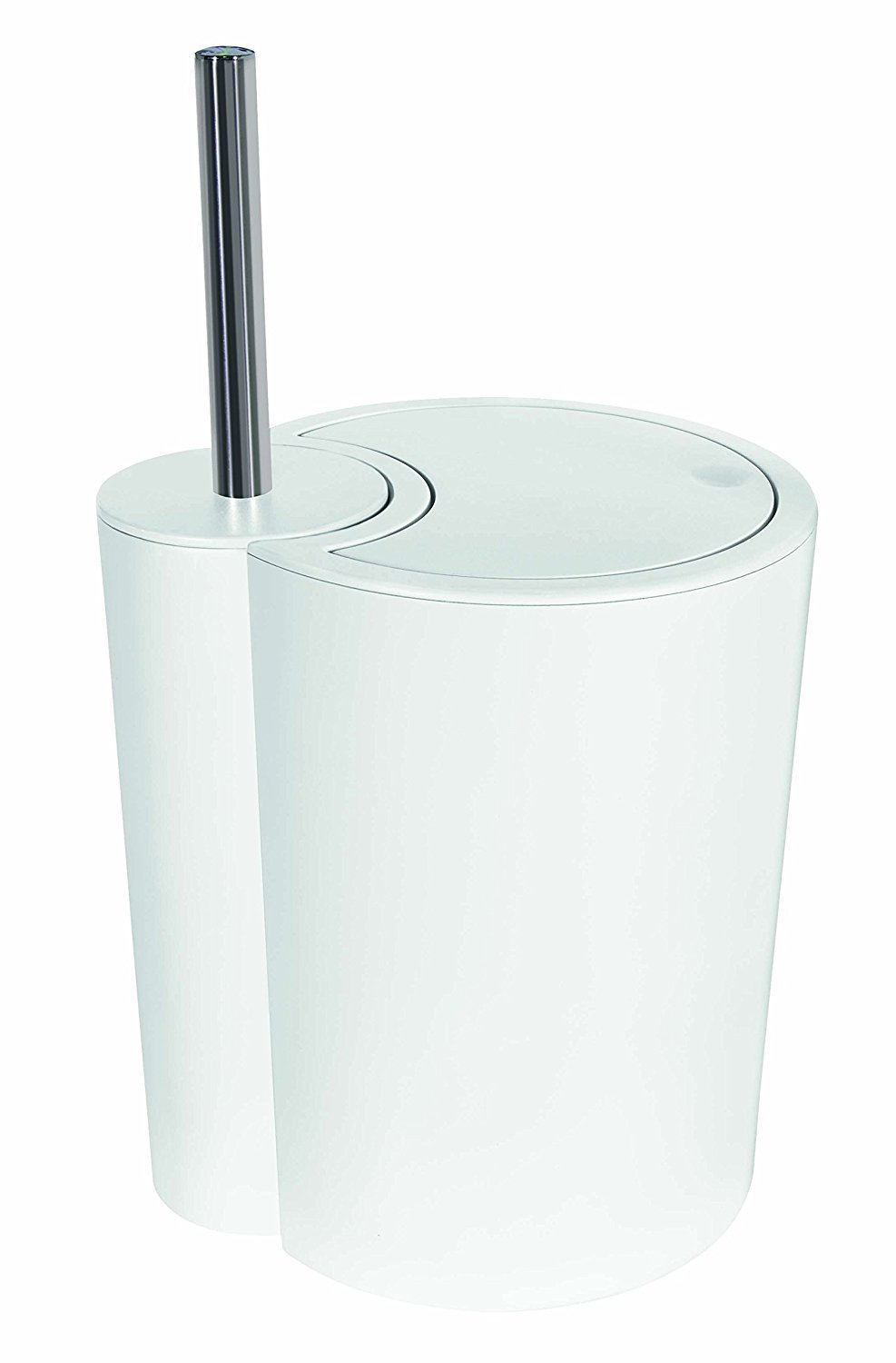 Spirella Sun and Moon 2-in-1 Toilet Brush and Waste Bin, Plastic, White 10.18146