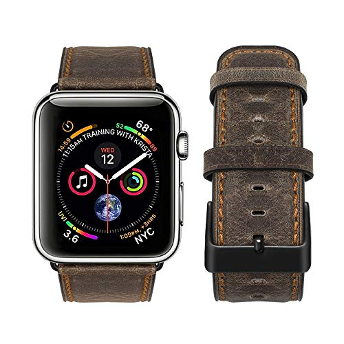 top4cus Genuine Leather iwatch Strap Replacement Band Stainless Metal Clasp, Compatible Apple Watch Series 4 Series 3 Series 2 Series 1 and Sport Edition (Retro Coffee Brown, 42 mm)
