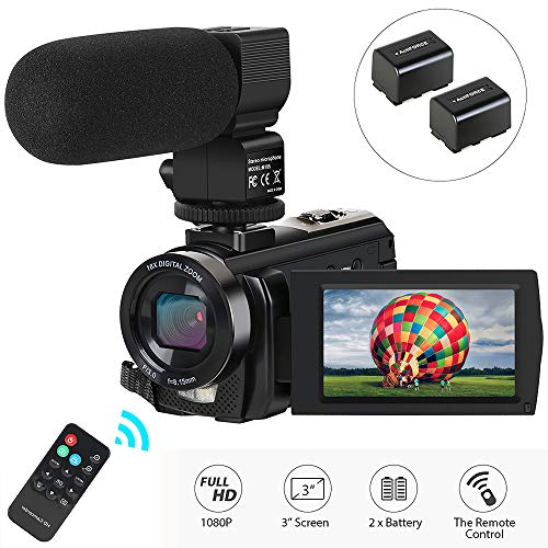 (Video Camera Camcorder,Actinow Digital Camera Recorder with Microphone 1080P 30FPS 24MP 3