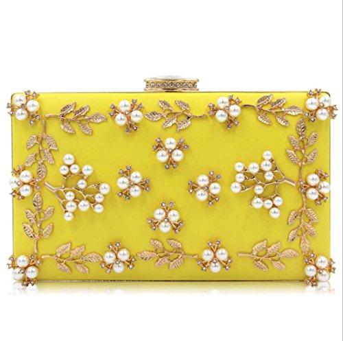 Sacs Yellow Soirée Sac Pochette À Main Perles Femmes De Embrayages In4wqPxYH