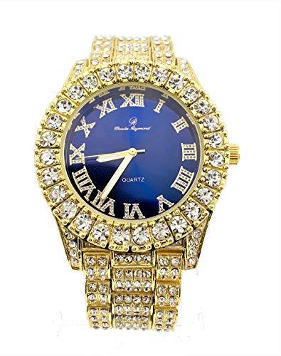 Mens Gold Big Rocks Bezel Royal-Blue Dial with Roman Numerals Fully Iced Out Watch - Royal Blue/Gold - ST10327