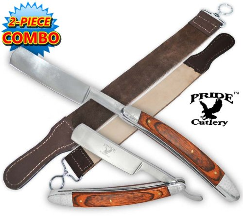 2 pc Combo Pride Cutlery Straight Razor-Wood Handle with Leather Strop (2-Piece Set), Outdoor Stuffs