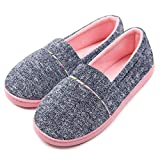 ChicNChic Women Comfortable Cotton Knit Anti-Slip House Slipper Washable Slip-On Home Shoes (Medium / 7-7.5 B(M) US, Navy Blue)