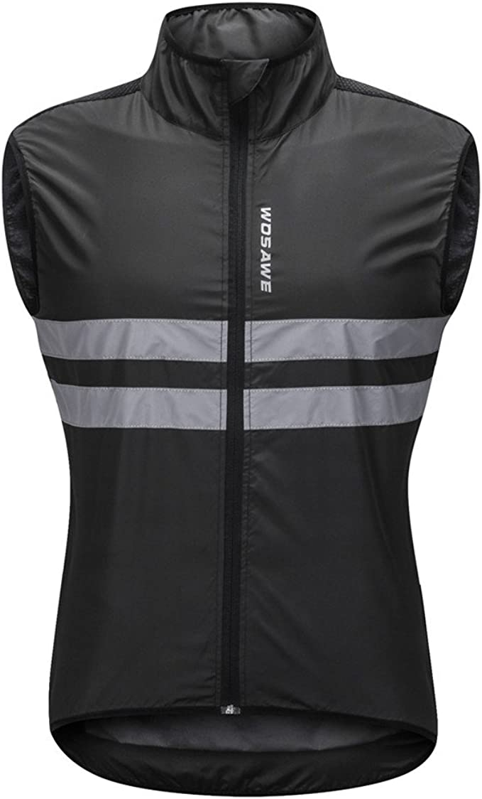 WOSAWE Men's High Visibility Cycling Wind Vest Sleeveless Reflective Bicycle Gilet