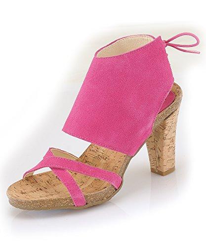 Marion Spath Damen 24-12-11 Wildleder Designer Hochfront-Sandalette Pink