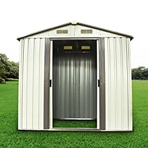 New MTN-G 6 x 4' Outdoor Steel Garden Storage Utility Tool Shed Backyard Lawn Sliding Door
