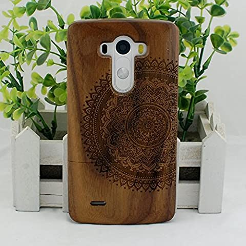 Handmade Mandala Real Natural Walnut Wood Wooden Hard Cover Case for LG G3 (Real Wood Cover For Lg G3)