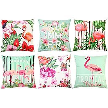 Cushion Cover Flamingos Love Birds Romance Decorative Square Accent Pillow Case