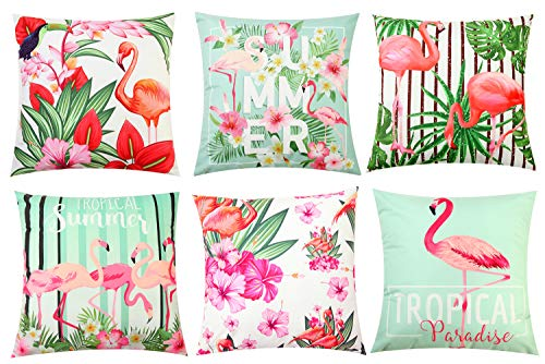 "Pibupibu 4/6 Party Packs 18""x18"" Flamingo Throw Pillow Case Cushion Cover Soft Velvet Decorative Pillowcases Set (6 Packs Green Series)"