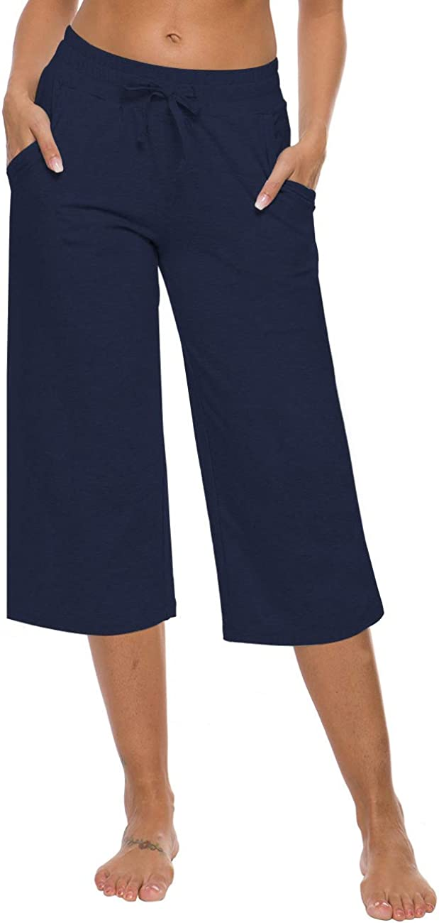 ChinFun Womens Yoga Lounge Capri Pants Stretch Active Jogger Flare Cropped Pants with Pockets