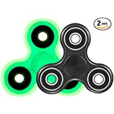 Fidget Spinners Prime (Two Pack) Stress Reducing EDC Tri Spinning Hand Fidget Toys for Kids and Adults with Anxiety 3 - 5 Minute Spin Times Non 3D Printed (Glow In The Dark / Black)