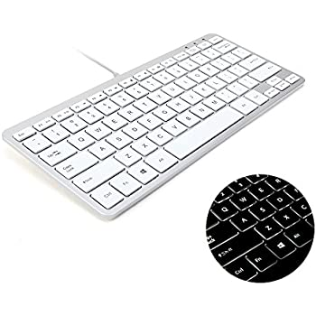 gmyle compact led backlit wired usb mini keyboard for pc metallic silver white. Black Bedroom Furniture Sets. Home Design Ideas