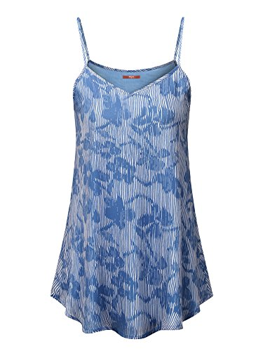 Gaharu Flowy Tops for Women, Sleeveless Camisole Tops Spaghetti Strap Floral Print Tank Shirts Office Tunic Blouses Double Layer Light Blue,Medium (Cami Layer Double)