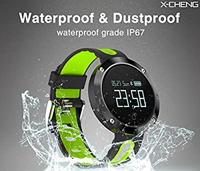 X-CHENG Fitness Tracker- Activity Monitor and Sleeping Management - Heart rate monitor Blood pressure Tracker Pedometer with IP67 Waterproof OLED Touch Screen - for Android and iOS (Black/Green)