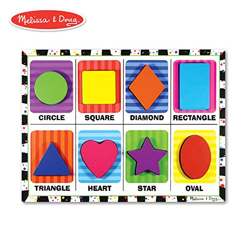 (Melissa & Doug Shapes Chunky Puzzle, Preschool, Chunky Wooden Pieces, Full-Color Pictures, 8 Pieces, 12
