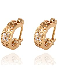 Women White Hollowed Round Crystal Ear Studs Gold Plated Copper Earrings Boucles D'oreilles