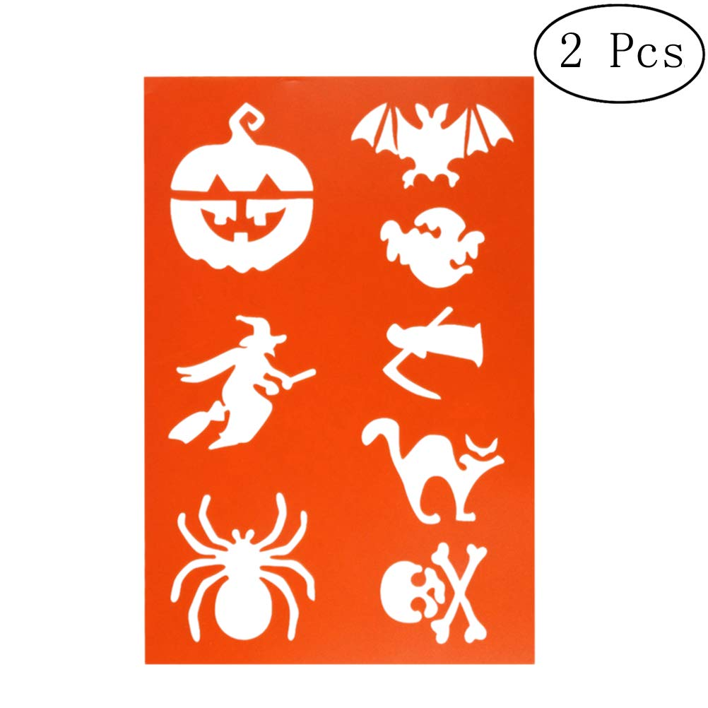 SUPVOX 2pcs Halloween Witch Pumpkin Spider Drawing Templates Hallow Painting Stencils Templates Graphics Stencils for DIY Photo Album Scrapbooking Cake Make (Orange)
