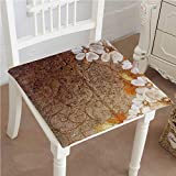 Mikihome Premium Comfort Seat Cushion and Leaves on Cracked Wall with Lines Classic Deco Brown G White Cushion for Office Chair Car Seat Cushion 32''x32''x2pcs