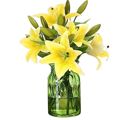 RERXN Artificial Tiger Lily Latex Real Touch Flower Home Wedding Party Decor,Pack of 5 (Yellow)