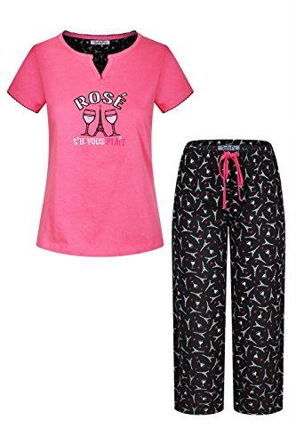 oidery Pure Cotton Sleepwear Capri Set Hot Pink Black M ()