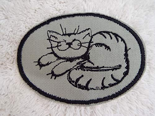 Black Gray Tabby CAT Embroidered Iron-on Patch