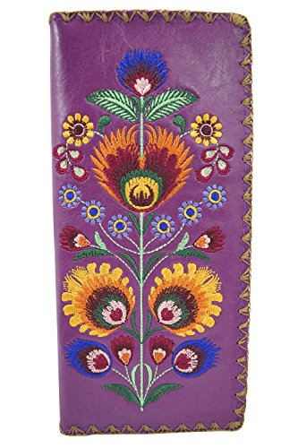 f006ccf8ac78 Lavishy Bohemian Colorful Flower Arrangement Embroidered Beautiful Large  Wallet (Purple)