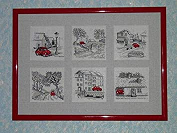 Ochoos Top Quality Beautiful Lovely Counted Cross Stitch Kit Red Car Parked Scenic House Home Little Town City permin Cross Stitch Fabric CT number: 11CT unprint canvas