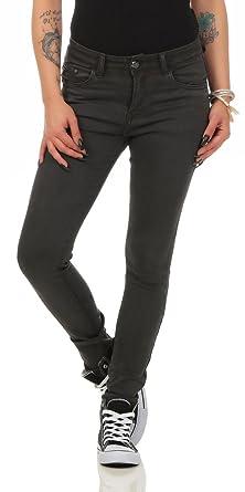 c4dcaa2faff1 Fashion4Young 10489 Damen Skinny Slimline Hose Damenhose Stretch  Übergrössen 36-50 (dunkelgrau, S