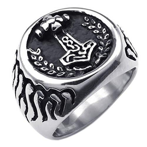 KONOV Massiness Vintage Stainless Steel Band Myth Thor's Hammer Ring, Black Silver, Size 10
