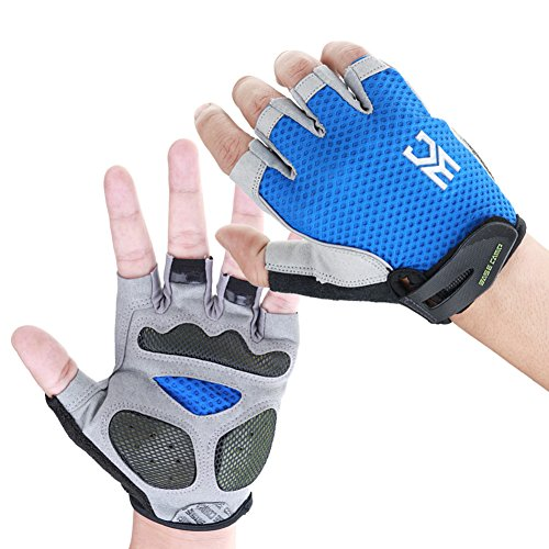 EASECAMP Cycling Half Finger Gloves with Anti Slip Pad and Shock Absorbing Gel (Blue, Medium)