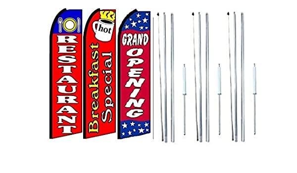 Breakfast  King  Size  Polyester Swooper  feather Flag  sign