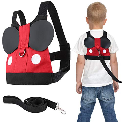 Flashbluer Anti Lost Safety Harness with Safety Leash Cute Design Toddler Leash for Toddlers Age 1-3 Years Old Boys and Girls (Mickey Backpack Harness)