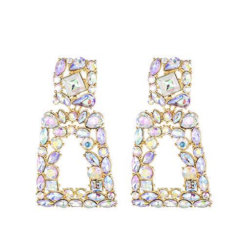 Rhinestone Rectangle Dangle Earrings for Women Crystal Geometric Drop Statement Earrings KELMALL COLLECTION
