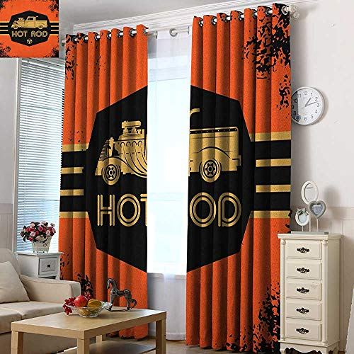 Home Curtains Retro Hot Rod Grunge Poster Design with Custom Truck Americana Vintage Engine Space Decorations 72
