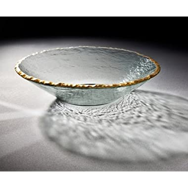 Annieglass Round Glass Bowl Edgey with Gold Trim