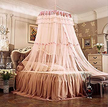 Green   Luxury Romantic Hung Dome Mosquito Net Princess Students Insect Bed Canopy Netting Lace Round Mosquito Nets Curtain for Bedding