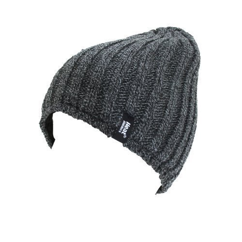 Men's Heat Holders Plain Ribbed Knitted 3.4 tog Thermal Winter Beanie Hat Grey (Heat Holders Thermal Hat compare prices)