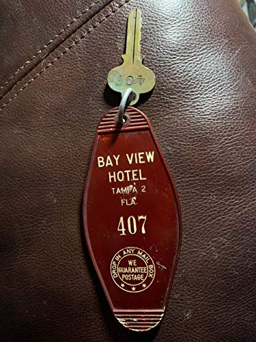 Vintage Hotel Motel Key Fob Tampa Florida Bay View Hotel #407