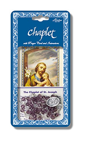 Saint Joseph Deluxe Chaplet with Violet and Crystal Glass Beads Packaged with a Laminated Holy Card & Instruction Pamphlet Comes 2 Chaplets to a - Crystal Glass Versus