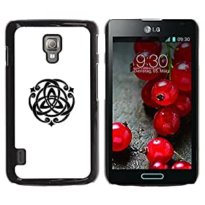 For LG Optimus L7 II P710 / L7X P714 Case , Spiritual Geometry Symbol Art - Diseño Patrón Teléfono Caso Cubierta Case Bumper Duro Protección Case Cover Funda