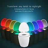 Toilet Seat Light – MEMTEQ LED Sensor Motion Activated Toilet Night Light Battery Operated Toilet Bowl Light, 8 Colors Changing Night Light for Bathroom Washroom