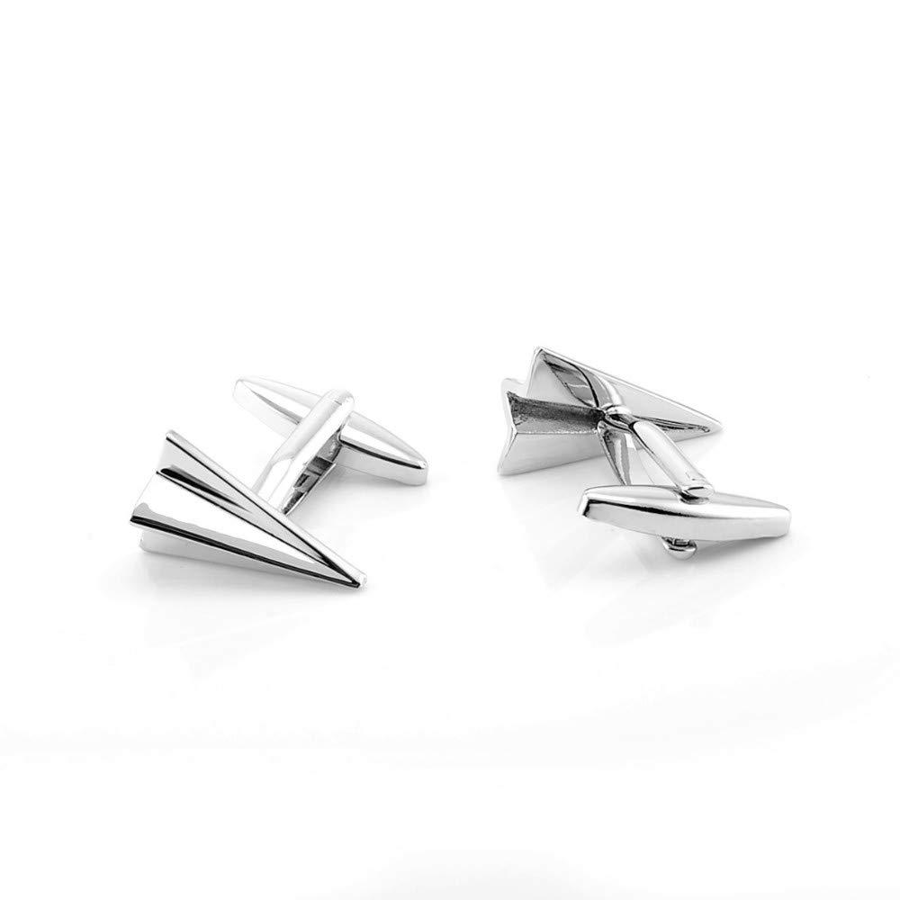 WYLCDGEOO Boutons de Manchette Boutons de Manchette Avions en Laiton Origami Avions en Argent Cadeau