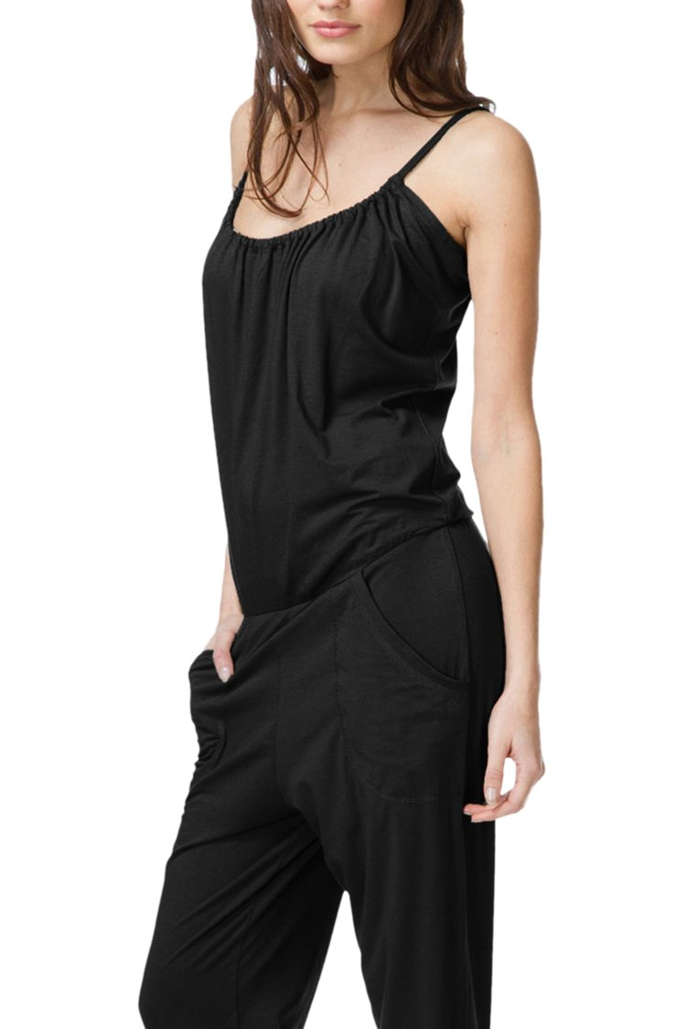 Linsery Women's Summer Casual Spaghetti Strap Sleeveless Jumpsuits Overalls,Black-1747,Small by Linsery (Image #5)
