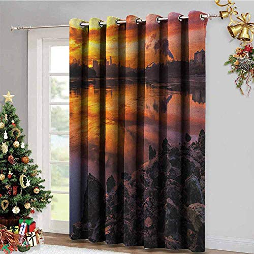 (Landscape Room Darkening Gromets Curtain Separate Heating, USA Missouri Kansas City Scenery of a Sunset Lake Nature Camping Themed Art Photo Printed Darkening Curtains, Multicolor, W72 x L72 Inches )